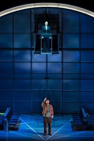 Jennifer France as the Controller and James Laing as the Refugee in Flight. Scottish Opera 2018. Credit James Glossop..JPG