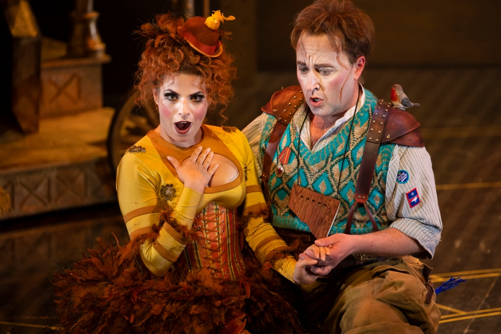Sofia Troncoso (Papagena) and Richard Burkhard (Papageno) in The Magic Flute. Scottish Opera 2019. Credit James Glossop.jpg